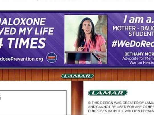 "Bethany ""Bessy"" Morse appeared on a billboard for nonprofit Tennessee Overdose Prevention."