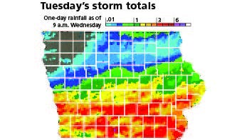 Tuesday's storm totals as of 9 a.m. Wednesday.