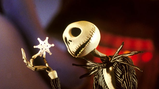 """Jack Skellington in a scene by """"The Nightmare Before Christmas."""" Danny Elfman provided Jack's singing voice and wrote the songs for the film, including """"What's This?"""""""