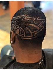 This special Eagles-related hair design was crafted by Jonathan Oliphant, owner and operator of The Hair Factory in Burlington City. The Willingboro native says he's a hair artist and has won awards for his hair designs. This is his client Curt Dudley of Lumberton and this was done prior to the Eagles advancing to Super Bowl LII.