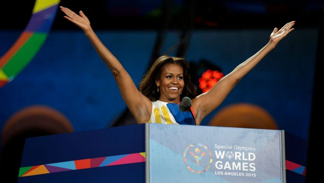 First Lady Michelle Obama declares the 2015 Special Olympics World Games officially open during the opening ceremony at the Los Angeles Memorial Coliseum, Saturday, July 25, 2015, in Los Angeles.