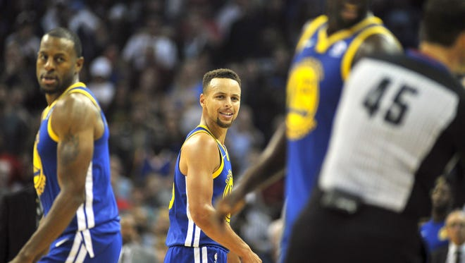 Oct 21, 2017; Memphis, TN, USA; Golden State Warriors guard Stephen Curry (30) reacts after being ejected from the game during the second half against the Memphis Grizzlies at FedExForum. Memphis defeated Golden State 111-101.