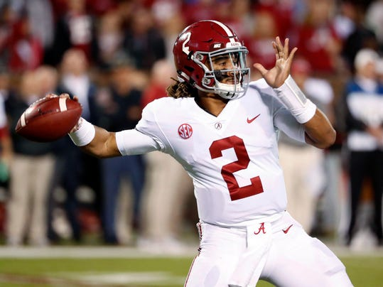 Alabama quarterback Jalen Hurts (2) drops back to pass against Mississippi State during the first half of an NCAA college football game in Starkville, Miss., Saturday, Nov. 11, 2017. (AP Photo/Rogelio V. Solis)