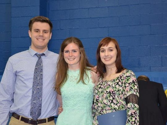 Pope John XXIII Regional High School Class of 2017 members Jacob Cooper, Anna Campbell and Rebecca Wiltshire were named National AP Scholar award winners by the College Board for 2017. Not pictured is Clint Roe, a member of the Class of 2017 who was also named a National AP Scholar award winner.
