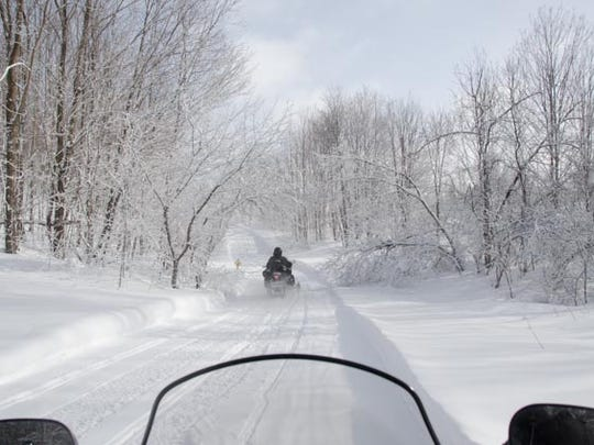 Winter view on a snowmobile trail in Vermont.