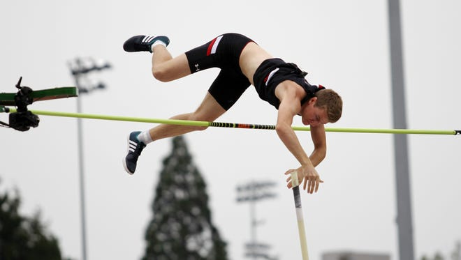 University of Cincinnati pole vaulter Adrian Valles clears the bar during the NCAA Outdoor Championships this week in Eugene, Oregon. Valles was national runner-up in the event.