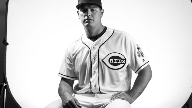 Cincinnati Reds pitcher Tanner Rainey (80) poses during picture day at the Cincinnati Reds training complex in Goodyear, Ariz., on Tuesday, Feb. 20, 2018.