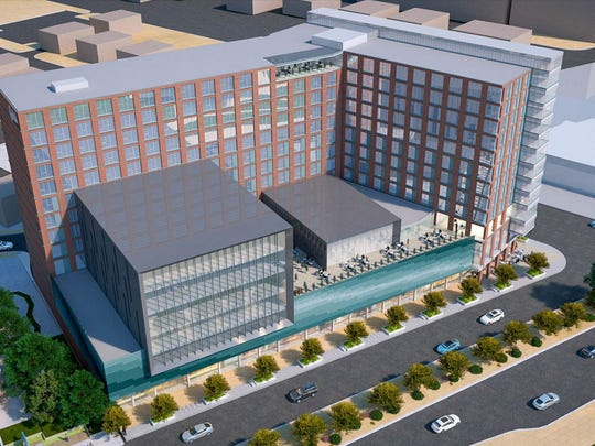 A rendering of the revised Park District project plans proposed in downtown East Lansing. The project includes a hotel, apartment complex and office space.
