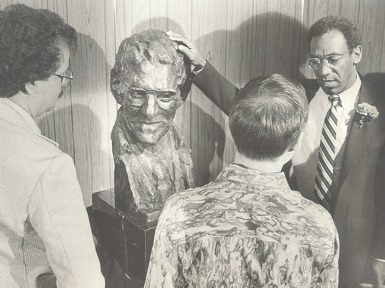 Bill Cosby talks in Reno at the unveiling of a bronze bust of Bill Harrah in 1981.