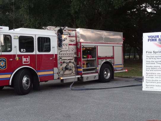 A fire truck sits by during an Escambia County Fire