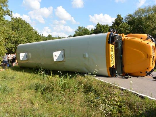Deputies say 14 children were injured when a bus crashed
