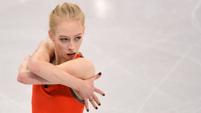 Bradie Tennell of Chicago practices at Gangneung Ice Arena in Pyeongchang, South Korea, Sunday in advance of the singles competition in figure skating.