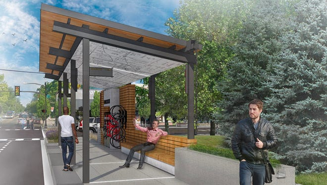 A design by Sean Morrissey was chosen the winner for IndyGo's new Red Line bus rapid transit system. The Red Line is a planned 37.5-mile bus route from Greenwood to Westfield with dedicated bus lanes and trainlike stations.