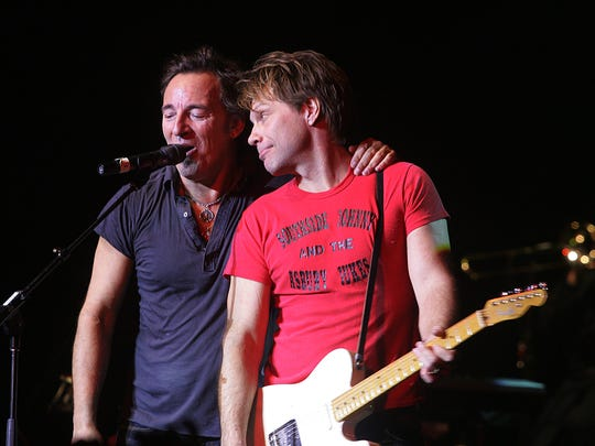 Bruce Springsteen and Jon Bon Jovi perform at the Hope Concert at the Count Basie Theatre in Red Bank in 2008.