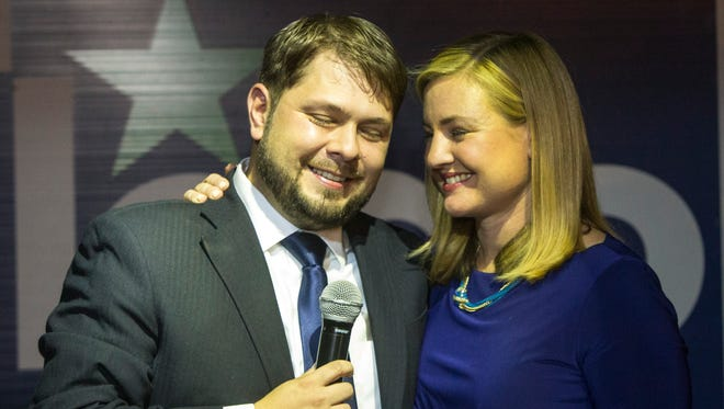 Democrat Ruben Gallego celebrates his victory in the Congressional District 7 primary with his wife, Kate.