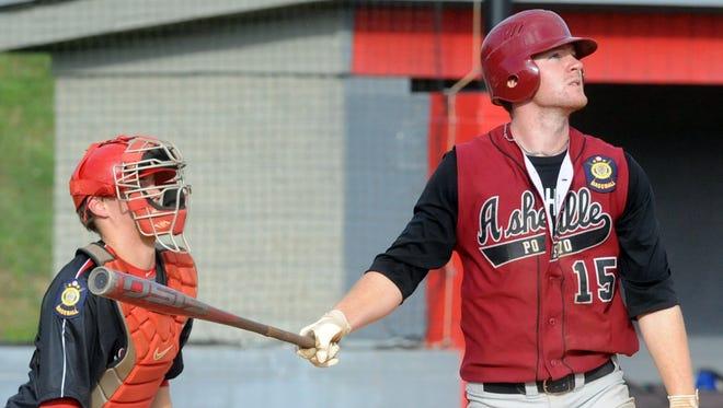 North Buncombe alum Alex Destino, right, was a player for last year's American Legion Post 70 baseball team.