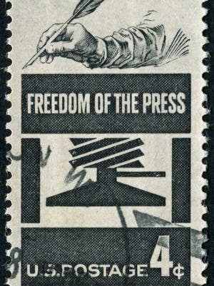 Cancelled Stamp From The United States Commemorating The Freedom Of The Press.