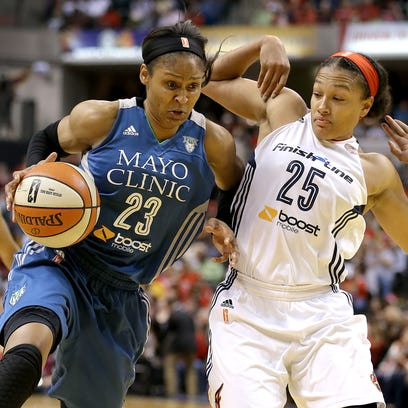 Minnesota Lynx forward Maya Moore (23) drives on Indiana