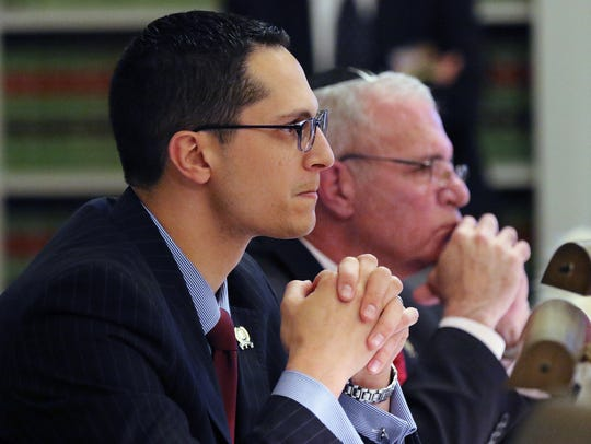 Assembly committee Co-chairman Joseph Lagana, left,