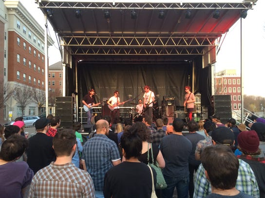 The outdoor stage at the Waking Windows festival in