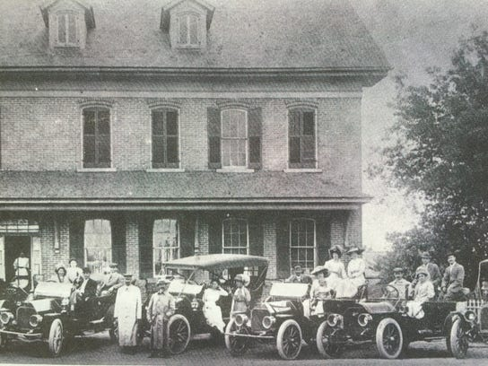 """""""Early Auto Days Circa 1915"""" reads the caption on this"""