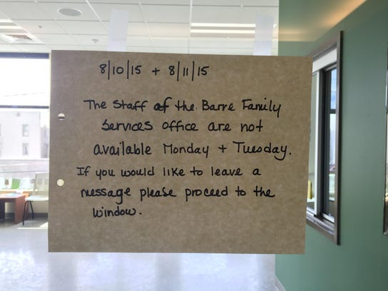A sign Monday outside the Department for Children and
