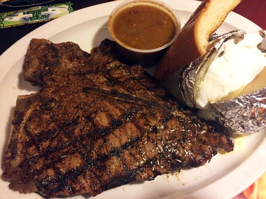 The porterhouse steak is a classic cut served with