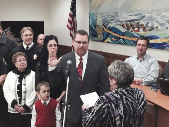 Nick Reimer was sworn in as assistant police chief