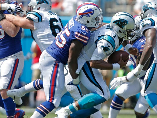 Jerry Hughes has two sacks last week against Cam Newton and the Panthers.