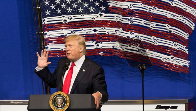 President Donald Trump speaks during a visit to Snap-on Tools in Kenosha.