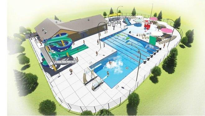 A rendering of the new Merrill Aquatic Center.