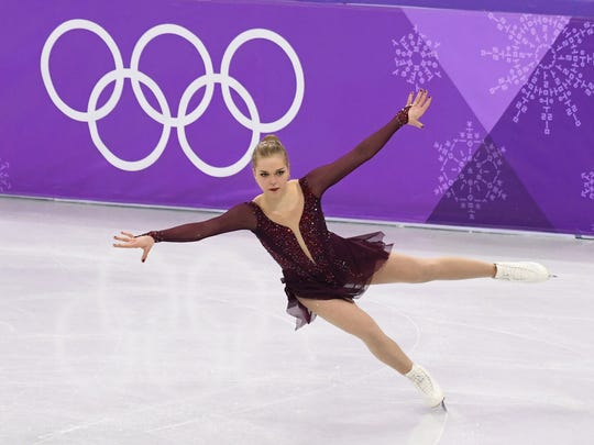 Nicole Rajicova (SVK) performs in the ladies figure skating short program during the Pyeongchang 2018 Olympic Winter Games at Gangneung Ice Arena.