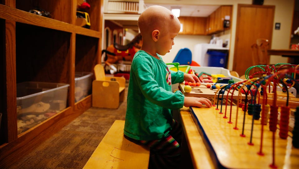 Kaydence Weaver, 2, who is suffering from a childhood