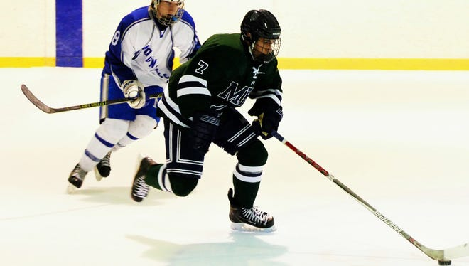 Brian Schindler (7) of Montclair Kimberley skating up ice against Montclair on Friday.