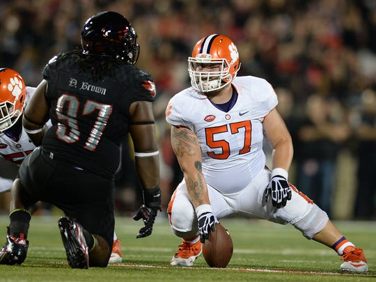 Clemson center Jay Guillermo (57) will look to prove he deserves to be drafted during Thursday's pro day.