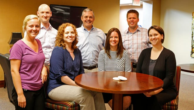 Some of the team at Systems Evolution Inc.: back row, from left, Bill Neese, VP of talent management; David Biederman, business development executive; and Rob Seichter, chief operating officer. Front row, from left: Maggie McMahon, executive assistant; and talent coordinators Magen Smith, Kristin Gilligan and Alyssa Fomon.