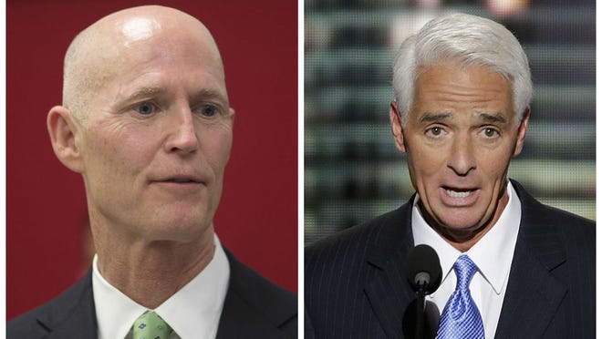Former Gov. Charlie Crist is leading Republican Gov. Rick Scott by 10 points in a new poll