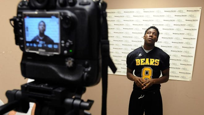 Jaytarius Steele of Billingsley HS is interviewed at the Advertiser's High School Football Media Day.