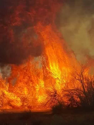 A brush fire burns Sunday adjacent to U.S. Highway 64 near Shiprock.