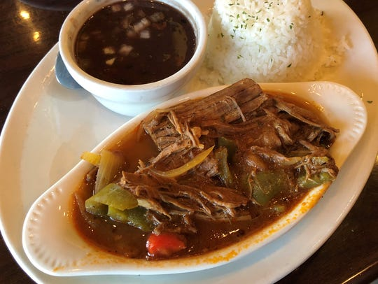 The ropa vieja with black beans and rice at Fernandez