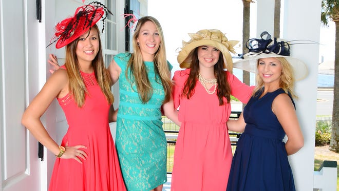Emily Huang,  Alessa Bastron, Robyn Havard and Morgan Milbradt are ready for the Gulf Coast Citizen Diplomacy Council's Mint Jubilee Derby pre-party.