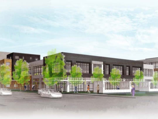 A rendering of Loveland's South Catalyst Project as shown looking northeast from First Street and Cleveland Avenue.