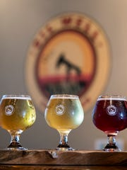 A tasting flight from Oil Well Craft Beer.