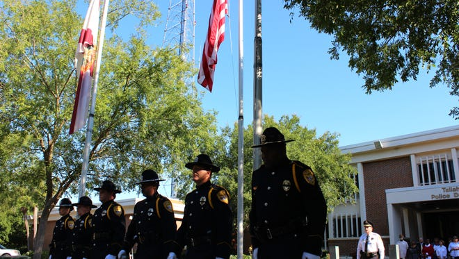 Five Tallahassee officers killed in the line of duty since 1981 were honored at the Tallahassee Police Department Wednesday morning. TPD officers Warren T. Gay, Ernest Kearns Ponce DeLeon, a police officer, Daniel Dale Green, a sergeant, Michael P. Saunders, a police officer and a reserve sergeant and Ruby Rouden, a school crossing guard, were honored by fellow officers and family members as flags were lowered to half mast on a day that President John F. Kennedy declared Peace Officers Memorial Day in 1962. The National Law Enforcement Memorial in Washington, D.C., will have 321 names added to it this year. In 2012, 120 officers died in the line of duty in the United States; this year 40 have died, two in Florida.  Karl Etters/Democrat
