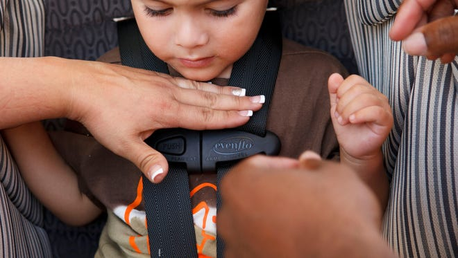 Justin Guerrero, 2, of Victorville, Calif., in a car seat in a 2012 file photo