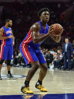 Pistons forward Stanley Johnson shoots from the foul line during the second quarter of the Pistons' 97-76 exhibition win Saturday, Oct. 15, 2016 in Philadelphia.