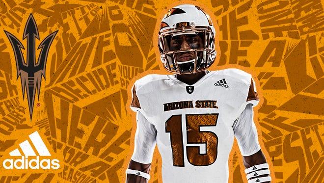 "ASU football unveiled Adidas ""Desert Ice"" uniforms for the Texas A&M game."
