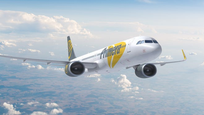 This rendering, provided by aircraft lessor AerCap, shows an Airbus A321in the colors of Primera Air.