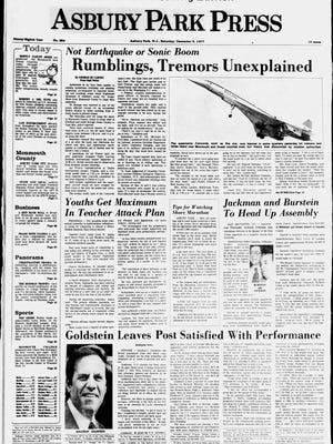 Front page of the Asbury Park Press on Dec. 3, 1977.