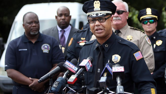 October 5, 2016 - Memphis police Director Michael Rallings talks to the media about a nuisance petition granted after a tip on drug and gang activity at two houses on Seattle Street.